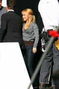 Hayden Panettiere flashes her pink panties on the set of Heroes